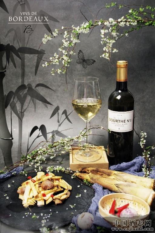 笋炒肉搭配波尔多杜夫一号波尔多白葡萄酒2016